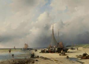 Charles Leickert | Bomschuiten en vissers op het strand