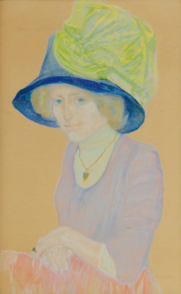 Leo Gestel   Vrouw met blauwe hoed en groene strik