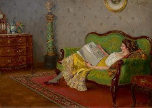 Robert Völcker | Reading lady on a sofa
