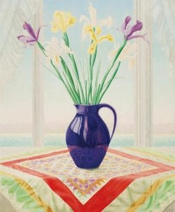Lodewijk Bosch | Still life with daffodils in a purple vase