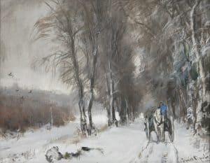 Louis Apol | Besneeuwde laan met paard en wagen