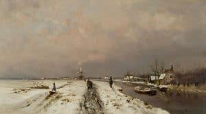 Louis Apol | Besneeuwd landschap met wandelaars langs een vaart