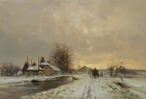 Louis Apol | Boer met paard en wagen in winters landschap