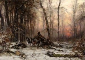 Louis Apol | Hout laden in een winters bos met ondergaande zon