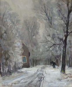 Louis Apol | Houtsprokkelaar langs een besneeuwd bospad