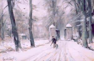 Louis Apol | Jager in een winters bos