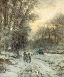 Louis Apol | Man op een 'Malle Jan' in een besneeuwd landschap