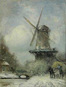 Louis Apol | Molen in besneeuwd landschap