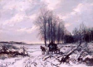 Louis Apol | Paard en wagen in een winters landschap