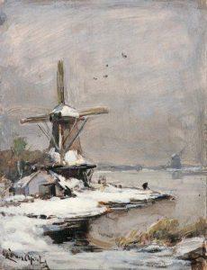 Louis Apol | Visser bij een molen in een winters polderlandschap