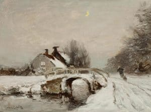 Louis Apol | Wandelaar in winters landschap