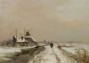Louis Apol | Wandelaar langs een vaart in een winters landschap