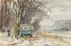 Louis Apol | Winterlandschap met kar