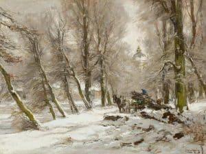 Louis Apol | Winterlandschap met op de achtergrond Paleis Huis ten Bosch, Den Haag