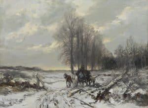 Louis Apol | Winterlandschap met paard en wagen