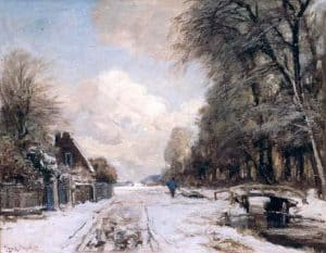 Louis Apol | Winterlandschap met wandelaar langs een vaart