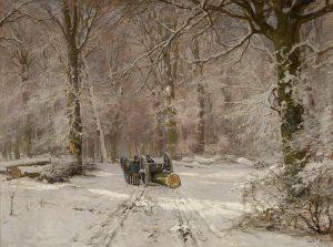 Louis Apol | Winters bosgezicht met paard en wagen