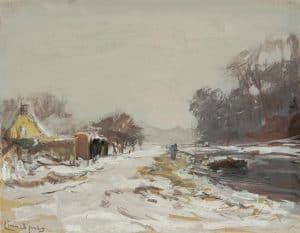 Louis Apol | Winters landschap met trekschuit