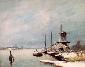 Louis Apol | Winters rivierlandschap met molens