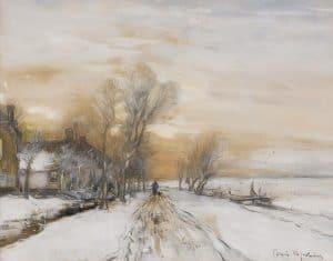 Louis Apol | Sundown in a snowy landscape