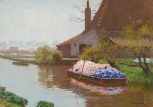 Anton Koster | Schuit met hyacinten