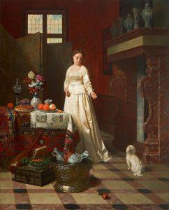 Petrus Renier Hubertus Knarren | Jonge vrouw in een interieur