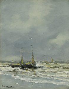 Gerhard Arij Ludwig 'Morgenstjerne' Munthe | Bomschuiten on the shore