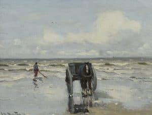 Gerhard Arij Ludwig 'Morgenstjerne' Munthe | Schelpenvisser met kar en paard op het strand