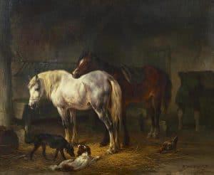 Wouterus Verschuur | Paarden in een stal