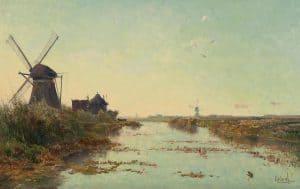 Paul Gabriël | Hollands polderlandschap met een wetering, een Zuid-Hollandse watermolen en een wipwatermolen
