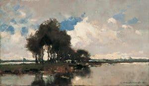 Cornelis Vreedenburgh | Polderlandschap met koeien en afgemeerde praam