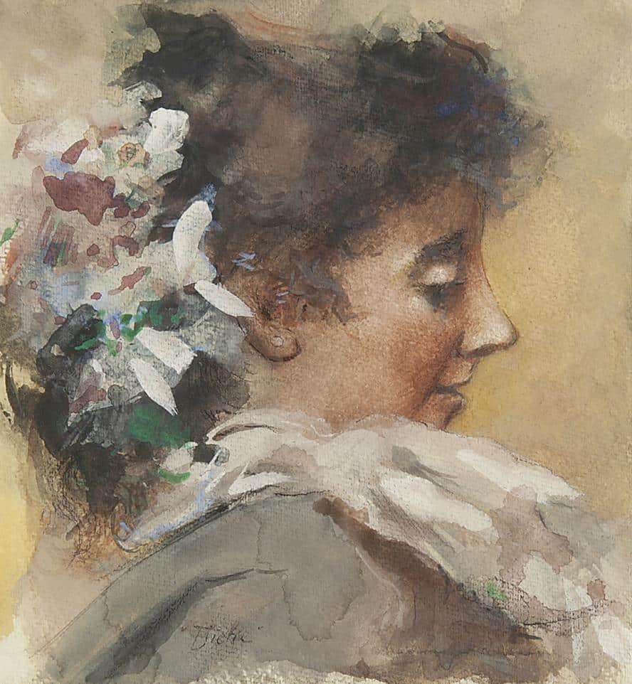 Albert Roelofs | Portret van Tjieke (vrouw van de schilder)