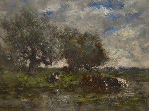 Willem Roelofs | Landschap met koeien in het water