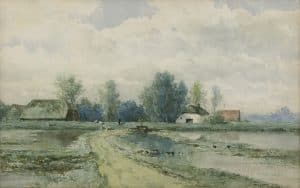 Willem Roelofs | Polder landscape with farmhouse