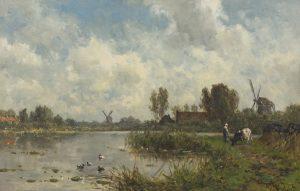 Willem Roelofs | Hollands polderlandschap met molens