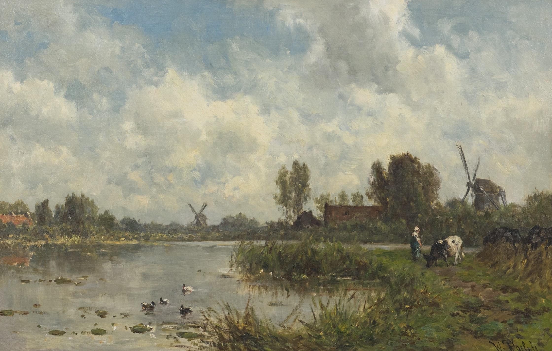 Willem Roelofs - Hollands polderlandschap met molens
