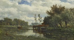 Willem Roelofs | River landscape with boat house