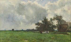 Hendrik Johannes Weissenbruch | Rustende koeien bij een hooiberg