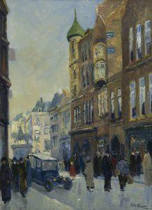 Chris Soer | Gezicht op het Noordeinde met het gebouw van de Haagse Post