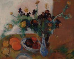 Jan Wiegers | Stilleven met bloemen en fruit