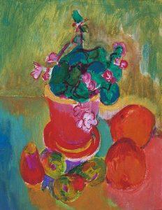 Jan Wiegers | Stilleven met geranium en fruit