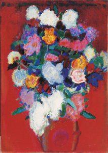 Jan Sluijters | Stilleven van bloemen in een rode vaas