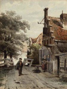 Cornelis Springer | Straatje te Enkhuizen
