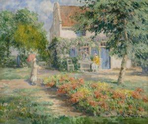 Evert Pieters   Thee drinken in de tuin tijdens een zomerse dag