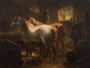 Wouterus Verschuur | Twee paarden in een stal