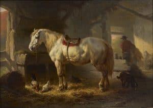 Wouterus Verschuur | A white horse in a stableyard