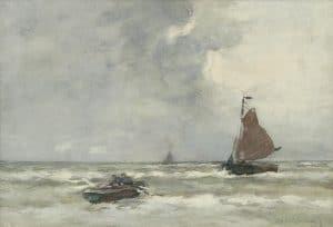 Hendrik Johannes Weissenbruch | Vissersschepen op zee