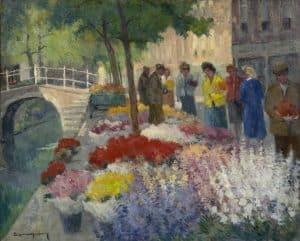 Arie Wassenburg | Vrouwen bij een bloemenstal in Delft