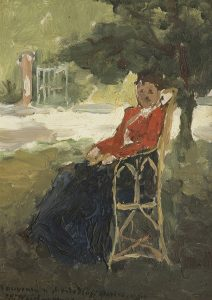 Hendrik Johannes Weissenbruch | Woman in a sunny garden in Barbizon
