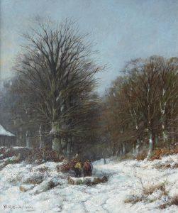 Willem Eickelberg | Figuren op een besneeuwd bospad